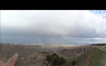Touring Badlands SD, Two Different Colored Sunsets & Dual Rainbows at Same Time
